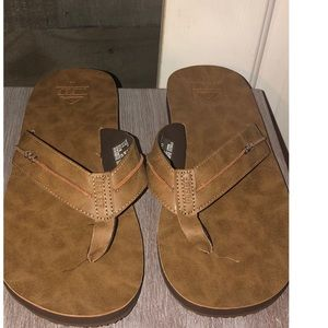 Men's Reef Marbea SL Leather Flip Flops, Tan, 12